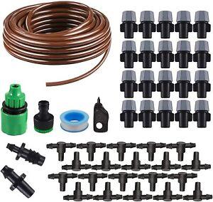 Misting Irrigation System Watering Irrigation Drip Kit 15M Tubing Hose 20 Nozzle