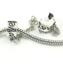 2pcs LOVE Silver European Charm Crystal Spacer Beads Fit Necklace Bracelet NEW