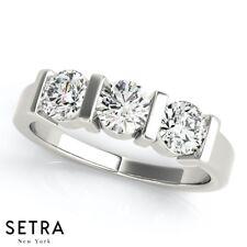 Round Cut Diamonds Engagement Ring 3 Stone Bar Set 14k Gold