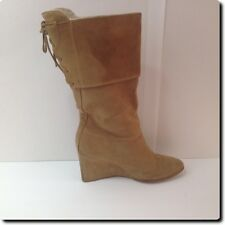 Colin Stuart for Victoria Secret Brown Suede Leather Back Laced Wedge Boot 11