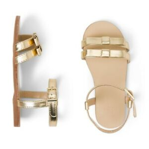 NEW JANIE AND JACK Toddler Girls Metallic Bow Sandal GOLD SIZE 10 *dress dressy