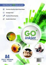 100 Sheets A4 220gsm Double Sided Matt Photo Paper for Inkjet Printers GO Inkjet