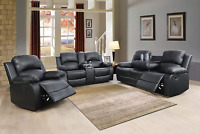 NEWSofa Loveseat Chair Black Leather Living Room 5-Seater Recliner& Cupholders