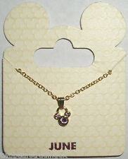 Disney Parks Goldtone Birthstone Necklace Mickey Mouse - June (Pearl)