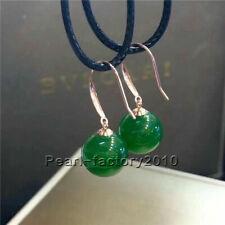 Natural AAAA Jade Russian Nephrite Earring  Jasper Beads 100% pure gold 18K