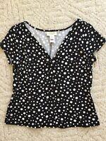 Talbots Top Blouse Black & White Polka Dot V-neck Cap Sleeve Size M Medium
