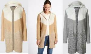 M&S Collection Cardigan soft long hooded brown beige brown ivory M L XL new