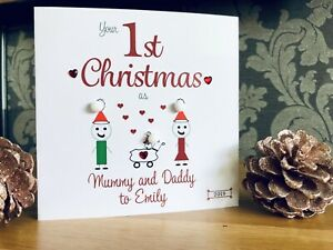 Handmade personalised 1st First Christmas Card As Mummy Daddy New Parents