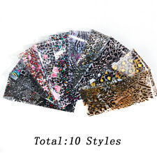 10pcs Mix Print Transparent Leopard Transfer Adhesive Slider Foil Nail Stickers