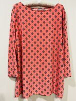 Croft & Barrow Women's 3/4 Sleeve Jersey Stretch Top Blouse Coral Print Size XL