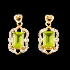 WJA CERTIFIED Pair Vermeil Silver Earrings Topaz .23CTW & Peridot 1.93 CTW 2.8g