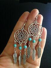 Earrings Dream Catcher Turquoise Silver Hippie Boho Tribal Gypsy A1037