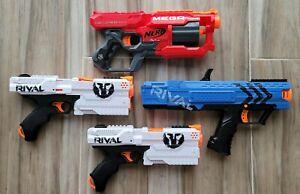 Set of 4 Nerf Guns - Rival XV111-500 Rival XV-700 & Mega Cycloneshot