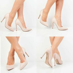Womens Stiletto High Heels Pointed Toe Court Ladies Beige Suede Shoes Classic