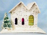 Vintage Christmas House Railroad Putz Japan White 2 Gable Roof Tree Diagonal