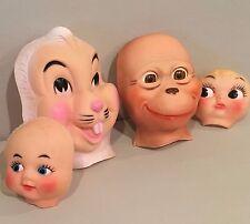 Vtg Gund Rushton? Rubber Mask Face Rabbit Chimpanzee Stuffed Toy Lot Altered Art