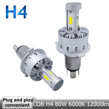 2Pcs H4 80W 12000LM 6000K COB LED Hi-lo bombilla coche faro blanco lámpara 9-36V