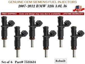 6 Fuel Injectors OEM Siemens for 2007-2012 BMW 328i 3.0L I6 #7531634