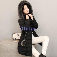 Women's Winter Thicken Fur Collar Hooded Long Duck Down Jacket WARM Coat Parka