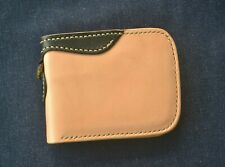 Handmade vetetable tanned leather wallet genuine cowhide card With LeatherBrass