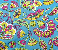"""Vintage Paisley print cotton fabric Floral multi-coloured 55"""" wide BY THE METRE"""