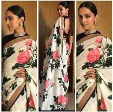 Multi Indian Bollywood Designer Georgette Saree Printed Sari Curtain Blouse Top