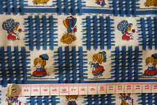 VINTAGE FABRIC MATERIAL QUILTING CRAFT COTTON LITTLE GIRLS & BLUE WHITE CHECK