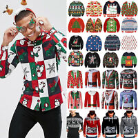 Mens Ugly Christmas 3D Santa Pullover Long Sleeve Hoodies Jumper Shirt Xmas Tops