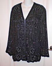 Xoanon Black Sequin Embroidery Beaded Jacket Blazer~L/XL~Exquisite, Classy