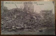 Cartolina Sicilia Messina dopo Il terremoto del 1908 via Calapesce 9/12/15
