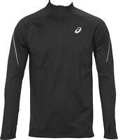 Asics Windblock Mens Running Top Reflective Half Zip Long Sleeve Black