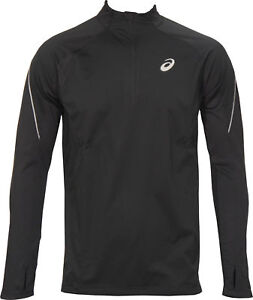 Asics Windblock Half Zip Mens Running Top Black Long Sleeve Windbreaker Jersey
