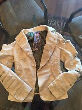 Lamb Cream Tuxedo Jacket Distressed...Absolutely One of a Kind! Size 4