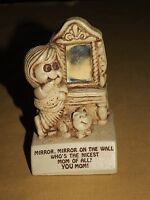 """VINTAGE GIFT  PAULA 1972 MIRROR ON THE WALL NICEST MOM OF ALL 4 1/2"""" HIGH STATUE"""