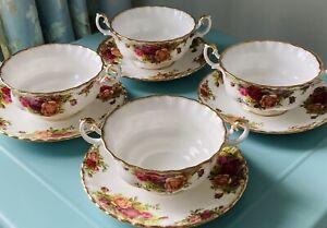 Original Royal Albert Bone China Old Country Roses Set X4 Soup Bowls And Plates