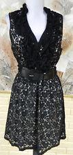 NWT ELEGANT HEARTSOUL DRESS BLACK LACE / NUDE SLEEVELSS JUNIORS MEDIUM DRESS