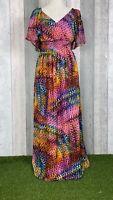 Nina Leonard Multicoloured Floaty Faux Wrap Maxi Dress Size UK 8