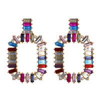 New Women Rectangle Crystal Drop Ear Stud Earrings Dangle Wedding Bridal Jewelry