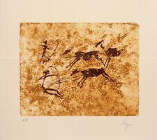 Llop - pinturas rupestres, Valltorta - grabado intaglio original