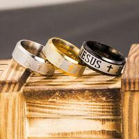 8mm Jesus Christian Cross Prayer Stainless Steel Titanium Band Ring Wedding Men