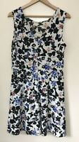 DOROTHY PERKINS FLORAL & BUTTERFLY PRINT SLEVELESS SHIFT DRESS UK 16