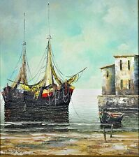 """Elenore Guinther- """"Harbour Scene"""" Oil on Canvas- Hand Signed by Artist"""