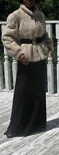 Designer crop cinnamon cream white Mink Fur coat jacket bolero stroller S-M 4-10