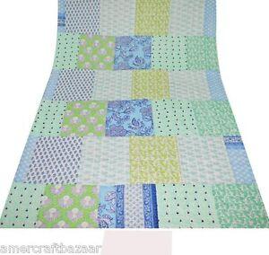 Indian Handmade Quilt Vintage Kantha Bedspread Throw Cotton Blanket Gudri &Queen