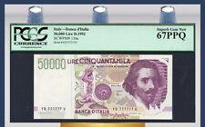 "TT PK 116c 1992 ITALY 50000 LIRE ""G. L. BERNINI"" LUCKY 7'S SERIAL # PCGS 67 PPQ"