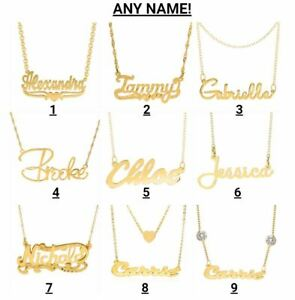 Personalized Sterling Silver 14KGold Plate Any Name Plate Script Chain Necklace