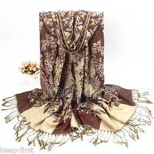 Coffee Fashion Women's Long Soft Floral Pashmina Shawl Wrap Stole Cashmere Scarf