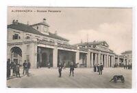 alessandria esterno stazione ferroviaria animata spedita 1911