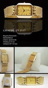 Cavadini Wrist Watch Unisex Elegance Stainless Steel Gold CV-2117 Rectangle 28mm
