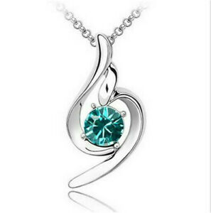 Fashion Lady Silver Necklace Green Round Crystal Cz Cubic Zirconia Pendant Gift